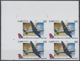 2009.311 CUBA 2009 MNH 50c  PROOF IMPERFORATE 80 ANIV CUBANA DE AVIACION DC-4 AIRPLANE AVION BLOCK 4. - Cuba