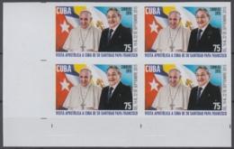2015.224 CUBA 2015 MNH PROOF IMPERFORATE VISITA PAPA FRANCISCO I VATICAN POPE FRANCIS I BLOCK 4. - Cuba
