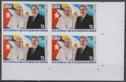 2015.225 CUBA 2015 MNH PROOF IMPERFORATE VISITA PAPA FRANCISCO I VATICAN POPE FRANCIS I BLOCK 4. - Cuba