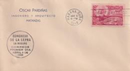 1948-FDC-132 CUBA REPUBLICA 1948 FDC CONGRESO DE LA LEPRA LEPPER BLACK CANCEL MEDICINE MEDICINA - FDC