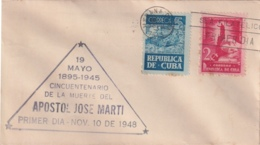 1948-FDC-133 CUBA REPUBLICA 1948 FDC 50 ANIV MUERTE DE JOSE MARTI INDEPENDENCE WAR VIOLET CANCEL - FDC