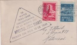 1948-FDC-134 CUBA REPUBLICA 1948 FDC 50 ANIV MUERTE DE JOSE MARTI INDEPENDENCE WAR VIOLET CANCEL - FDC