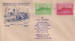 1949-FDC-134 CUBA REPUBLICA 1949 FDC 200 ANIV CASTILLO DE JAGUA CASTLE CIENFUEGOS VIOLET CANCEL, GALIAS COVER - FDC