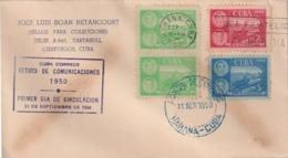 1950-FDC-104 CUBA REPUBLICA 1950 FDC RETIRO DE COMUNICACIONES CRASH RAILROAD FERROCARRIL, VIOLET CANCEL - FDC