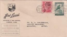 1950-FDC-105 CUBA REPUBLICA 1950 FDC INAUGURACION DEL BANCO NACIONAL, BLACK CANCEL, HOTEL BRISTOL - FDC