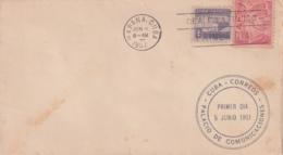 1951-FDC-161 CUBA REPUBLICA 1951 FDC PALACIO DE COMUNICACIONES SEMIPOSTAL, VIOLET CANCEL - FDC