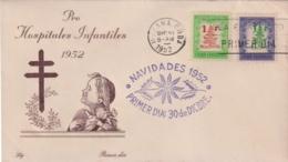 1952-FDC-117 CUBA REPUBLICA 1952 FDC NAVIDADES CHRISTMAS FLOWERS FLORES PASCUA, VIOLET CANCEL - FDC