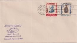 1955-FDC-95 CUBA REPUBLICA 1953 FDC FRANCISCO CARRILLO INDEPENDENCE WAR, VIOLET CANCEL. - FDC