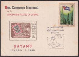 1969-CE-29 CUBA 1969 SPECIAL CANCEL EXPO FILATELICA BAYAMO, CONGRESO NAC FILATELIA BLACK CANCEL - Cuba