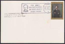 1988-CE-147 CUBA 1988 SPECIAL CANCEL 134 ANIV NACIMIENTO DE JOSE MARTI JAGUEY GRANDE BLACK CANCEL - Cuba