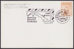 1988-CE-148 CUBA 1988 SPECIAL CANCEL 110 ANIV PRIMER ENTERO POSTAL JAGUEY GRANDE BLACK CANCEL - Cuba