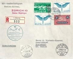 """Sonder Postflug  """"Flugmeeting Zürich"""" - Sion  (Station Wipkingen)         1937 - Poste Aérienne"""