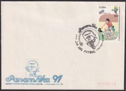 1991-CE-208 CUBA 1991 SPECIAL CANCEL PANAMERICAN GAMES PANAMFILEX DIA DEL FUTBOL SOCCER - Cuba