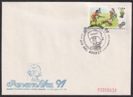 1991-CE-210 CUBA 1991 SPECIAL CANCEL PANAMERICAN GAMES PANAMFILEX DIA DEL HOCKEY. - Cuba