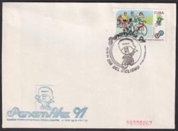 1991-CE-213 CUBA 1991 SPECIAL CANCEL PANAMERICAN GAMES PANAMFILEX DIA DEL CICLISMO CYCLE. - Cuba