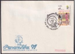 1991-CE-214 CUBA 1991 SPECIAL CANCEL PANAMERICAN GAMES PANAMFILEX DIA DEL VOLEIBOL VOLLEYBALL. - Cuba