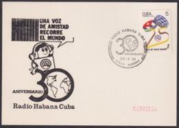 1991-CE-216 CUBA 1991 SPECIAL CANCEL 30 ANIV RADIO HABANA CUBA CARD - Cuba