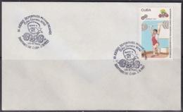 1991-CE-225 CUBA 1991 SPECIAL CANCEL PANAMERICAN GAMES LEVANTAMIENTO DE PESAS ALTEROFILIA WEIGHT RAISING. - Cuba