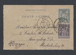 Carte Lettre Type Sage 15 C Bleu Avec Sage 89 En Complément De Nice 18/02/1893 Vers Konigsberg En Allemagne - Poststempel (Briefe)