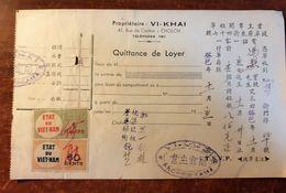 SAIGON 47 RUE DE CANTON VIETNAM  FACTURE TIMBRE FISCAUX PHILATELIE SOCIETE IMMOBILIERE INDOCHINE STAMP HO CHI MINH CHINA - Viêt-Nam