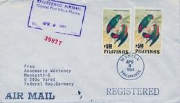 1984 , FILIPINAS , SOBRE CERTIFICADO ENTRE MANILA Y VAREL, LOROS , PARROTS , AVES - Filipinas