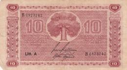 YEAR 1945 -10 SUOMEN PANKKI KYMMENEN FUBKABDS BANK TIO MARK - BLEUP - Finlandia