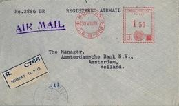 1960 INDIA , SOBRE CERTIFICADO , BOMBAY - AMSTERDAM , FRANQUEO MECÁNICO , THE CHARTERED BANK - India