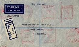 1960 , MALASIA / MALAYA , SOBRE CERTIFICADO IPOH - AMSTERDAM , THE CHARTERED BANK , FRANQUEO MECÁNICO , TRÁNSITOS - Malayan Postal Union