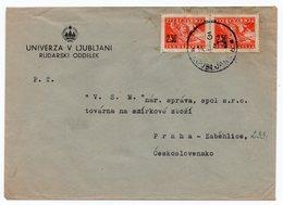 1947 YUGOSLAVIA, SLOVENIA, LJUBLJANA TO PRAGUE, CZECHOSLOVAKIA, COMPANY COVER - 1945-1992 Socialist Federal Republic Of Yugoslavia