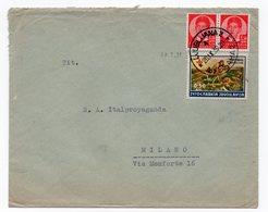 1939 YUGOSLAVIA, SLOVENIA, LJUBLJANA TO MILAN, ITALY, RED CROSS, FLAM AT THE BACK - Covers & Documents
