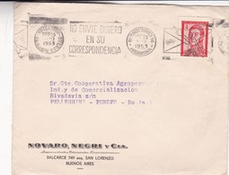1953 COMMERCIAL COVER NOVARO NEGRI Y CIA BUENOS AIRES TO PELLEGRINI BANDELETA PARLANTE - BLEUP - Argentine