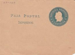 STATIONERY ENTIER FAJA POSTAL IMPRESOS 4 CENTAVOS ARGENTINA 1910'S - BLEUP - Entiers Postaux