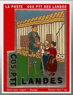 SUPER PIN'S POSTES : La POSTE PTT COS Des LANDES émail Base Argent + Glaçage, 3X2,7cm - Correo