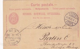 STATIONERY ENTIER 10 SUISSE CIRCULEE 1893 TO BERLIN - BLEUP - Interi Postali