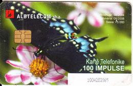 ALBANIA - Butterfly, Albtelecom Telecard 100 Units, Tirage 75000, 08/04, Used - Albania