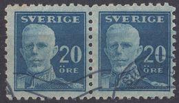 SVERIGE - SVEZIA - SWEDEN - 1920 - Due Valori Yvert 129a Usati, Uniti Fra Loro. - Svezia