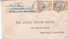 COVER 1954 NIGERIA CIRCULATED TO MINNESOTA - BLEUP - Nigeria (...-1960)