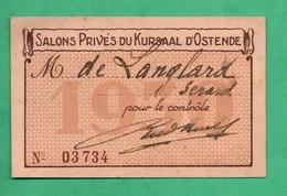 Belgique Ostende Casino Kursaal  Carte De Membre Des Salons Privés 1930 ( Format 6cm X 9,5cm ) ) - Eintrittskarten