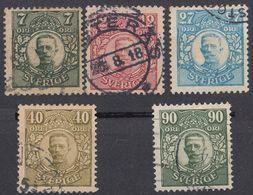 SVERIGE - SVEZIA - 1918/1919 - Lotto Di 5 Valori Usati: Yvert 97/100 E 104, Come Da Immagine. - Svezia