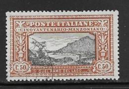 Italy Scott # 168 Used Manzoni, Lake Como,CV$180.00 - 1900-44 Vittorio Emanuele III