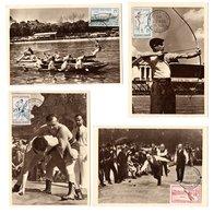 Carte Maximum 1958 - Jeux Traditionnels : Boules, Joutes Nautiques, Tir à L'arc, Lutte - YT 1161 à 1164 - Maximum Cards