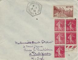 """1939- Enveloppe Affr. à 65 C.  Oblit. Cad Hexag. Pointillé """" CROISEUR-LAMOTTE-PICQUET """" - Marcophilie (Lettres)"""