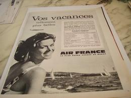 ANCIENNE PUBLICITE VOS VACANCES AIR FRANCE    1963 - Publicités