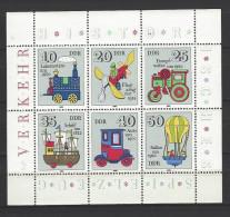 DDR Kleinbogen Mi-Nr. 2566 - 2571 Historisches Spielzeug Verkehrsmittel Postfrisch - Bloques