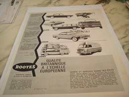 ANCIENNE   PUBLICITE QUALITE BRITANNIQUE  ROOTES MOTOR 1963 - Voitures