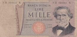 Italie - Billet De 1000 Lire - G. Verdi - 26 Février 1969 - [ 2] 1946-… Republik