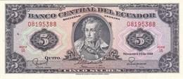 Equateur - Billet De 5 Sucres - 22 Novembre 1988 - Antonio José De Sucre - Neuf - Ecuador