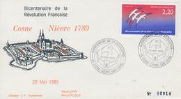 Enveloppe  FRANCE    Bicentenaire  De  La   REVOLUTION      COSNE - COURS - SUR - LOIRE    1989 - Révolution Française