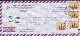 Singapore Air Mail SUNKYONG SINGAPORE Pte. Ltd., Registered Einschreiben Label SINGAPORE 1984 Cover Brief KÖLN Galleon - Singapur (1959-...)