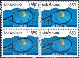 S. Marino 1997 Tennis Quartina Usata - Blocks & Sheetlets